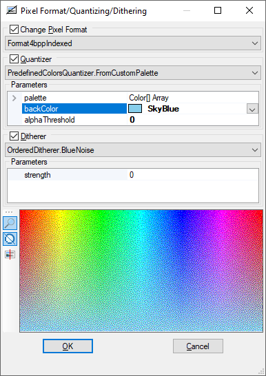 Changing pixel format with quantizing and dithering